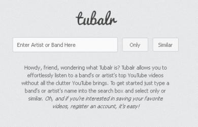 Tubalr reproduce música desde Youtube