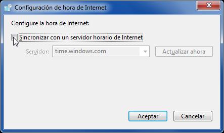Sincronizar con un servidor horario de internet