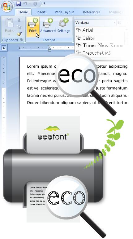 ecofont tipo letra ahorro tinta