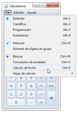 calculo de fechas o días calculadora windows