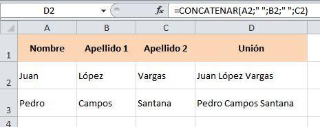 excel concatenar juntar columnas 3
