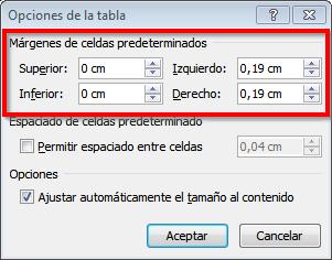 word opciones margen celdas tabla