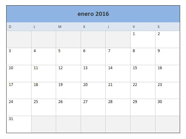 calendario para imprimir en una hoja calendario mensual