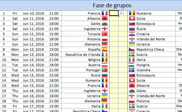 eurocopa 2016 calendario excel fixture