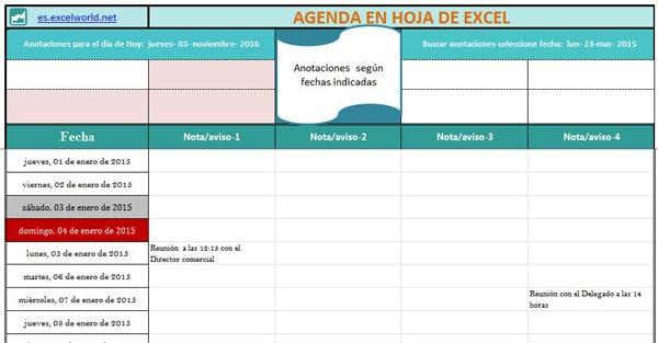 agenda excel editable notas