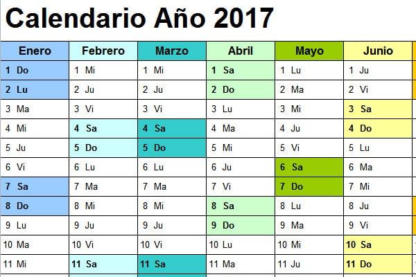 imprimir calendario 2017 excel