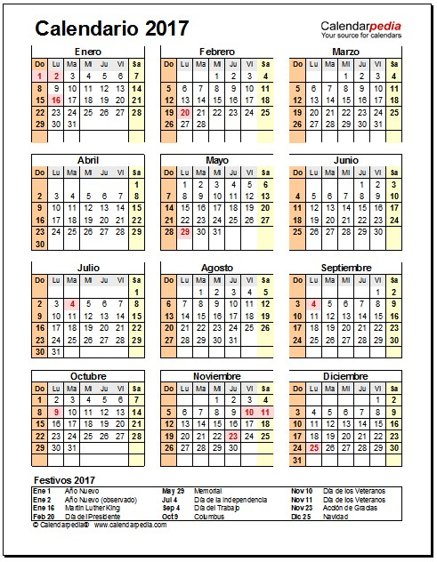 calendario 2017 estados unidos anual