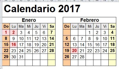calendario 2017 estados unidos