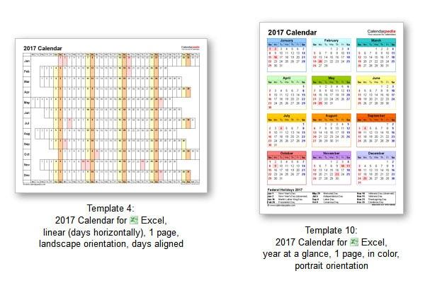 calendario 2017 excel ingles calendarpedia