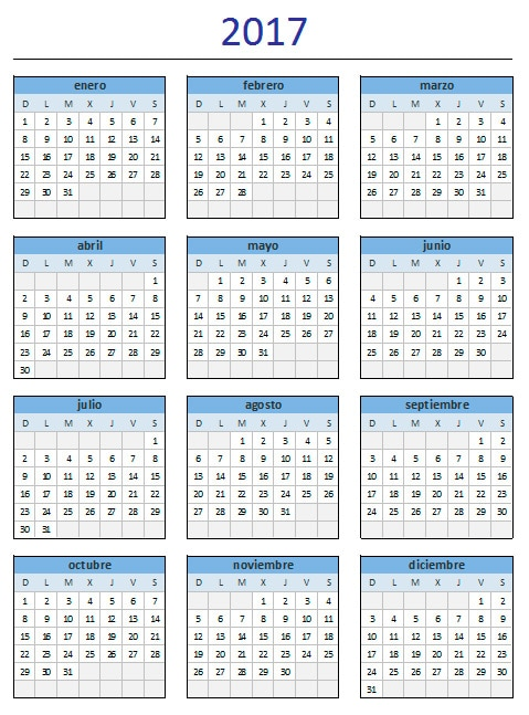 calendario 2017 de excel total anual