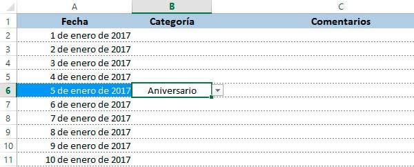 calendario 2017 de excel total diario