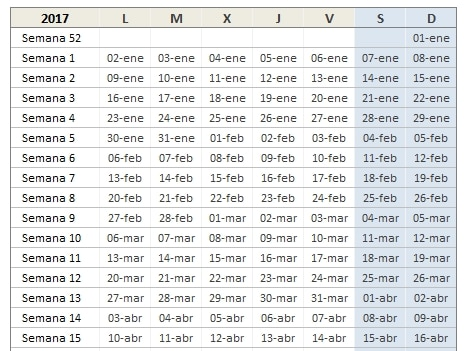 calendario 2017 de excel total semanal