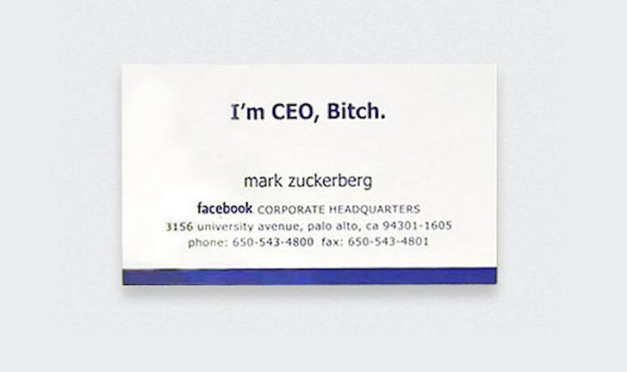 tarjeta de presentación Mark Zuckerberg