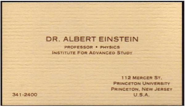 tarjetas de visita de famosos Albert Einstein