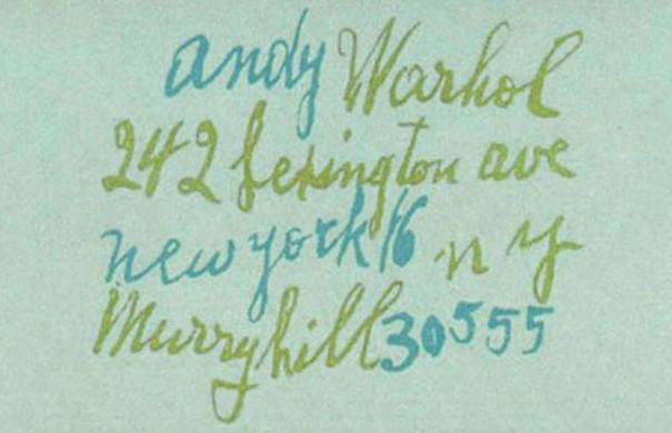tarjeta de presentación Andy Warhol