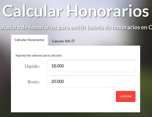 calcular honorarios boletas de Chile