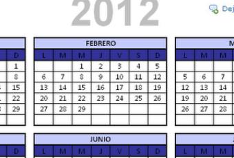 Descarga calendario 2012 en Excel