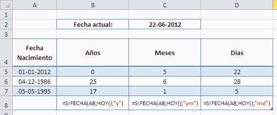 excel calculo de edad con años meses dias