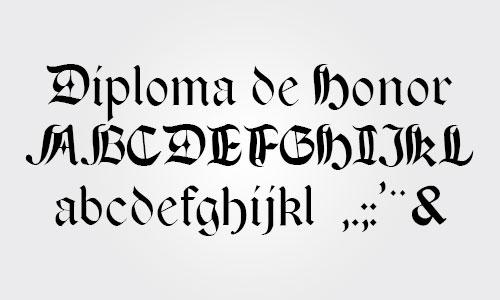 fuente para diplomas y certificados gótica