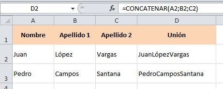 excel concatenar juntar columnas 2