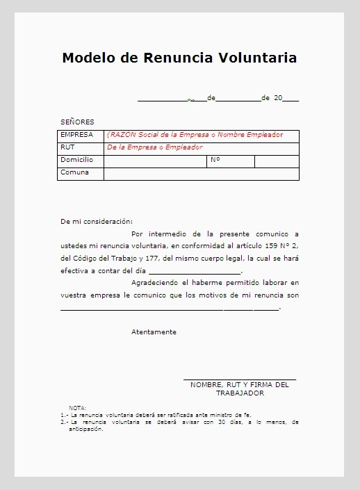modelo carta renuncia voluntaria