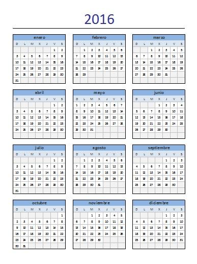 calendario anual 2016 excel