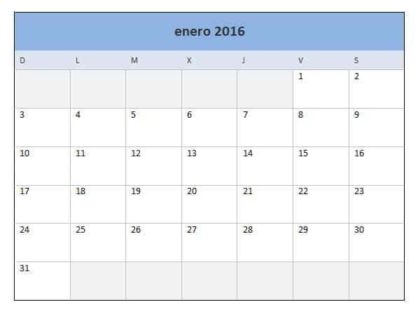 calendario mensual 2016 excel