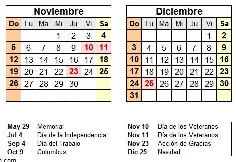 calendario 2017 estados unidos feriados
