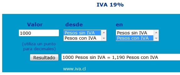 calcular el iva chile