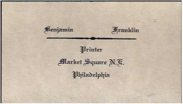 tarjeta de visita Benjamin Franklin
