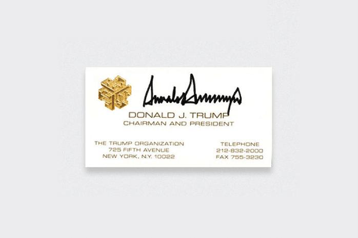 tarjeta de visita Donald Trump