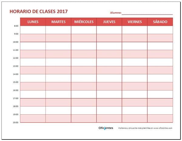 formato de horario de clases
