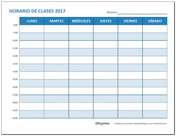 horario de clases para imprimir