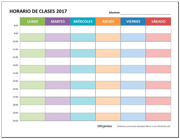 plantilla horario de clases bonito