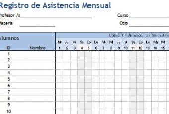 Descarga plantilla para registro de asistencia de alumnos en Excel