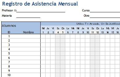 registro de asistencia de alumnos