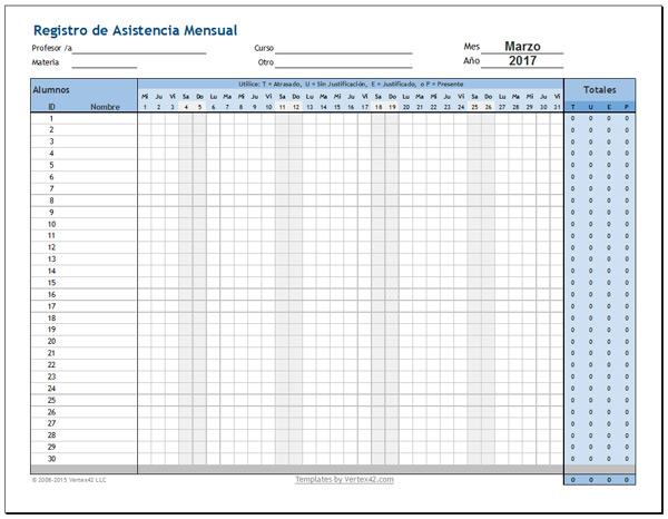 registro de asistencia de alumnos mensual