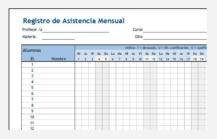lista registro asistencia alumnos excel