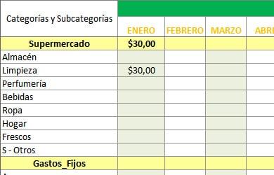 Control de gastos mensuales en Excel, plantilla editable