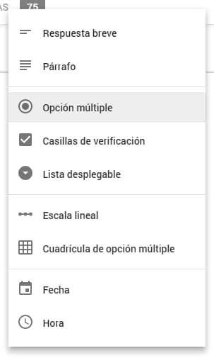 formularios de google tipos de respuestas