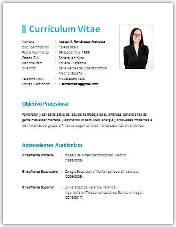 Modelos De Curriculum Vitae No Documentado Simple