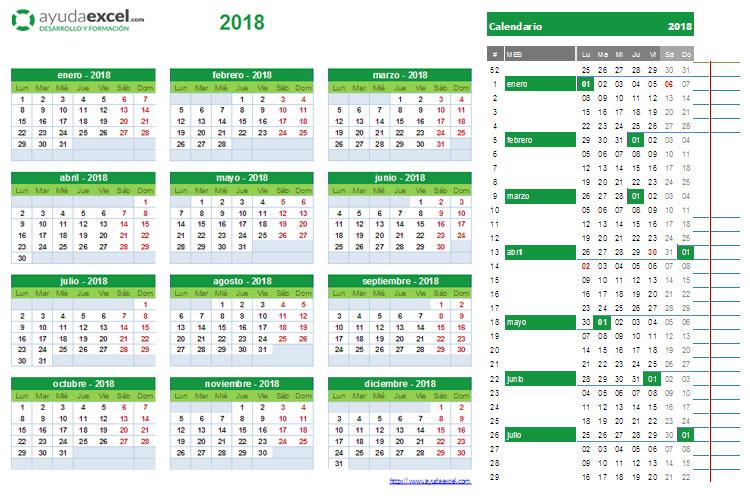 Calendario 2018 Para Imprimir Y Editar Descarga Formatos En