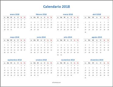 Calendario 2018 Excel anual minimalista horizontal
