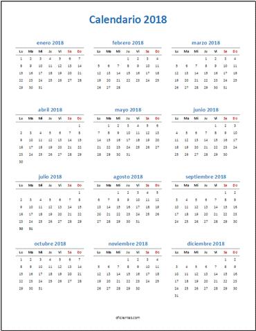 Calendario 2018 Excel para imprimir minimalista