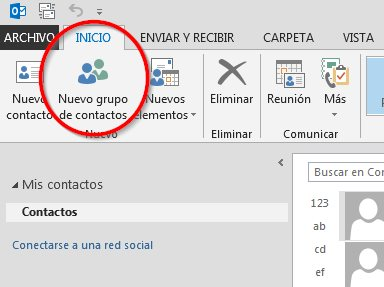 nuevo grupo de contactos outlook 2016