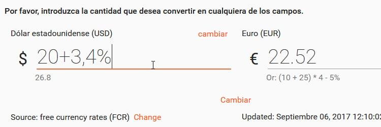 conversor de monedas con comsion