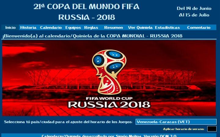 Fixture Quiniela Polla Excel Mundial Rusia 2018