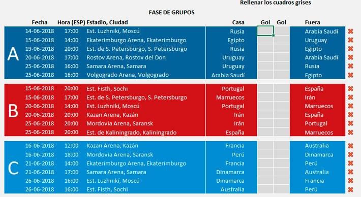 Fase de grupos Porra Mundial 2018 Excel